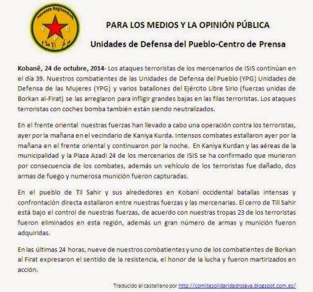 24oct_omunicado centro de prensa de las YPG