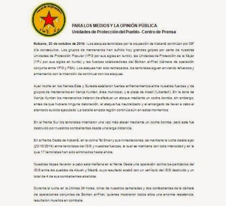 comunicado centro de prensa de las YPG 23octubre